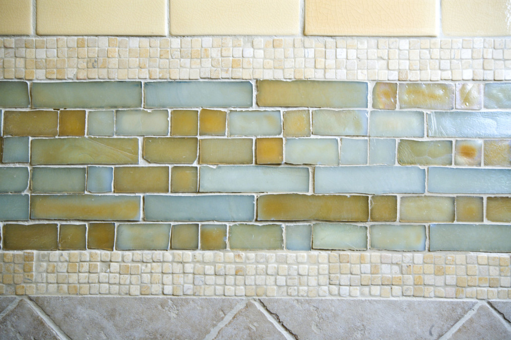 detail custom tile work bathroom backsplash wall